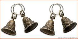 """25 BRASS BELLS ~ Bird + Rabbit Design on each Bell 1.25"""" tal"""