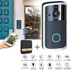 FHD Black Smart Video Doorbell Camera with Chime Security Ri