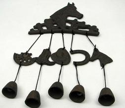 Horse Bell Rustic Wind Chimes Cast Iron Western Theme Garden