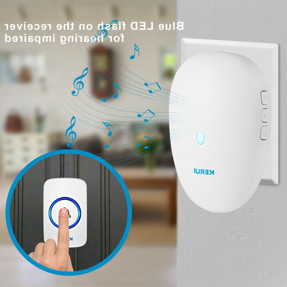 57 Songs Wireless Doorbell Chime Waterproof Plugin Receiver