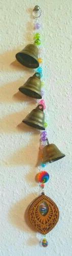 """Bell Tower"" 4 Brass Bells WIND CHIMES - Wood, Lampwork Mill"