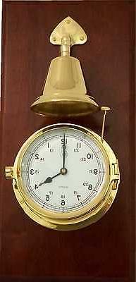Lacquered Brass Porthole Quartz Striking Bell Clock on Mahog