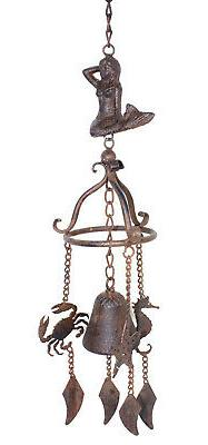 Mermaid Crab Seahorse Bell Wind Chimes Antiqued Finish