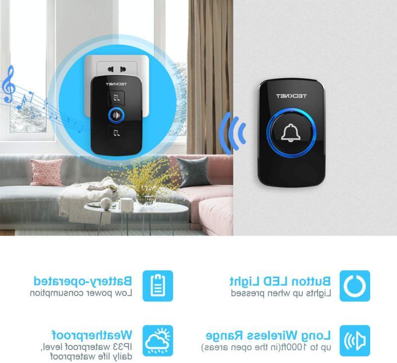 Wireless Doorbell, Wireless Door Kit with LED
