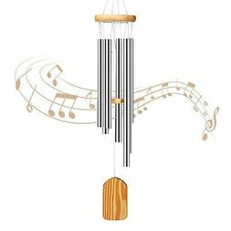 PATHONOR Wind Chimes Outdoor, with 6 Aluminum Tubes Wooden W
