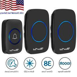Wireless Doorbell Waterproof 2 Plugin Receiver Adjustable Vo
