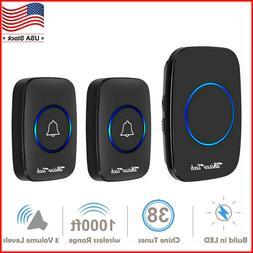 Wireless Doorbell Waterproof Door Chime 2 Remote Button+1 Pl
