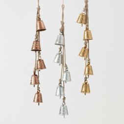 World Market Foiled Metal Bell Decor Wind Chimes Set 3: silv